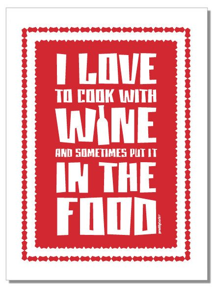 I LOVE TO COOK WITH WINE Tea Towel