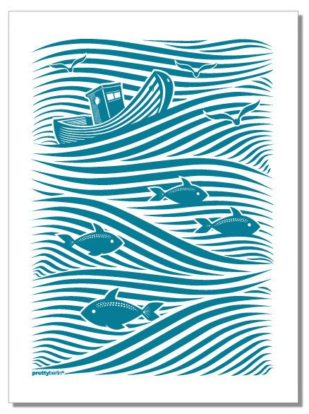 WAVES Tea Towel