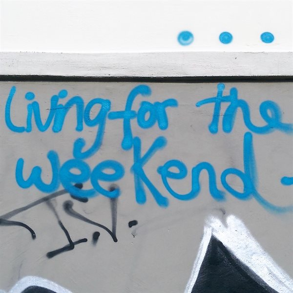LIVING FOR THE WEEKEND Leinwand 20x20cm