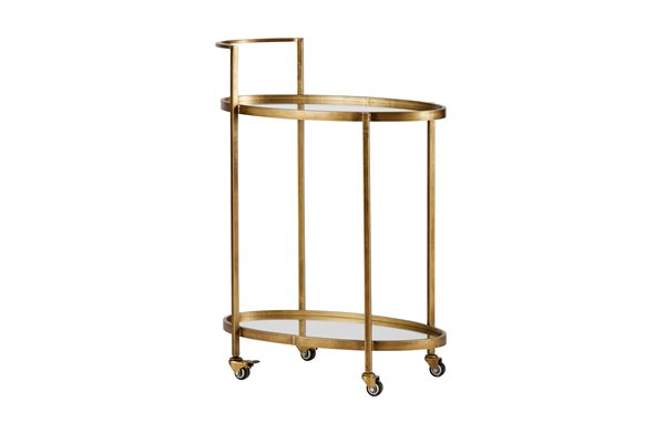 PUSH TROLLEY antique brass metal/glass