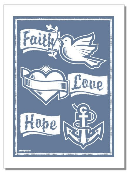FAITH, LOVE & HOPE Tea Towel