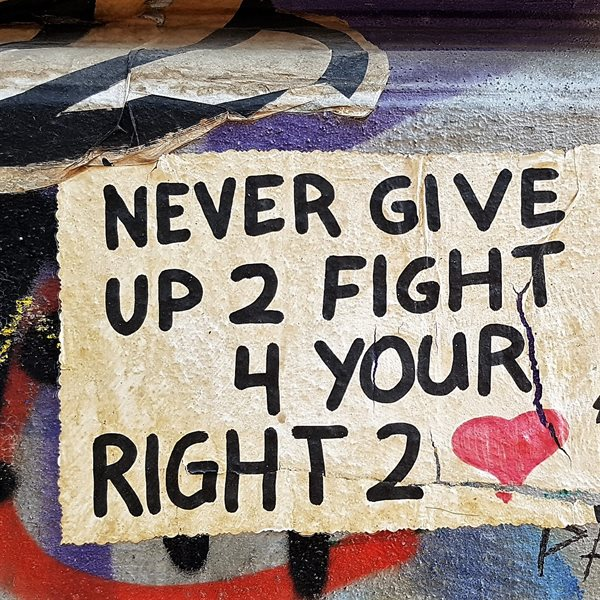 NEVER GIVE UP 20x20cm Leinwand